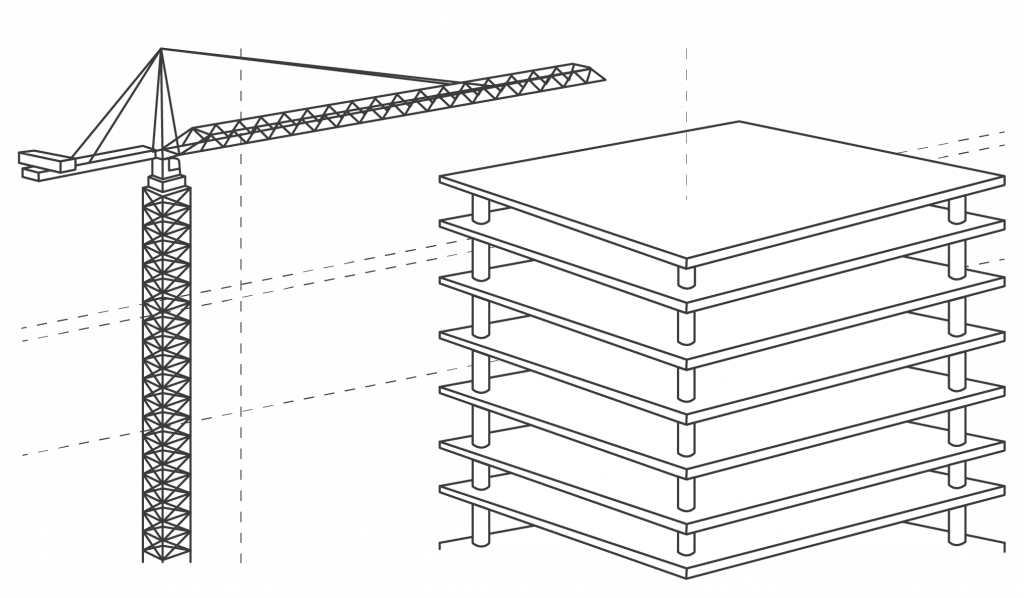 crane with unfinished building line drawing